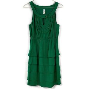 Anthropologie Meave Green Terasina Tiered Dress